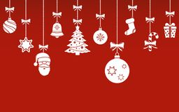 Christmas hanging ornaments background. Christmas banner. Vector illustration Royalty Free Stock Images