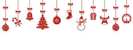 Christmas hanging ornaments background. Christmas hanging red ornaments background Royalty Free Stock Photos
