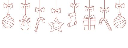 Christmas hanging ornaments background. Vector linear illustration Royalty Free Stock Images