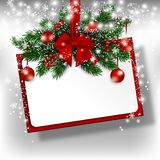 Christmas hanging rectangular banner. Vector stock photos