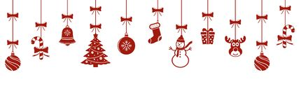 Christmas hanging red ornaments isolated background Royalty Free Stock Photography
