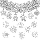 Christmas hanging vintage ornaments. Christmas coloring page with holiday ornaments, fir tree, jingle bells and vintage snowflakes. Freehand sketch drawing for Stock Image
