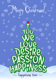 Christmas Happiness love tree card design. Christmas Happiness love tree typography card design blue stock illustration