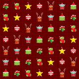 Christmas happy background pattern wrapping paper with cartoon c Stock Image