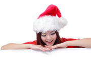 Christmas Happy beauty smile showing billboard Royalty Free Stock Image