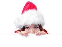 Christmas Happy beauty smile showing billboard Royalty Free Stock Photos