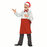 Christmas Happy Chef. Christmas Happy cheerful Chef in a red cap presenting vector illustration