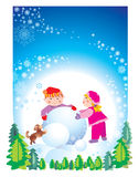 Christmas happy children. Happy hollyday children's, boy and girl make a snowman, green tree, brown dog, snowflake, isolated, frame Royalty Free Stock Image