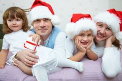 Christmas Happy family Stock Image