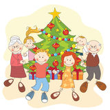 Christmas. Happy family dancing together. Royalty Free Stock Photos