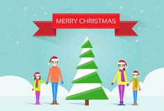 Christmas happy family with green tree greeting Royalty Free Stock Image