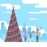 Christmas Happy Family With Green Tree Happy New Year Celebration Royalty Free Stock Photo