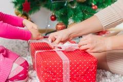 Christmas Happy Family Open Holidays Gift Stock Photo
