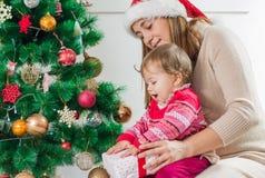 Christmas Happy Family Open Holidays Gift Stock Photos