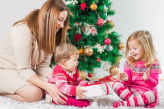 Christmas Happy Family Open Holidays Gift Stock Images
