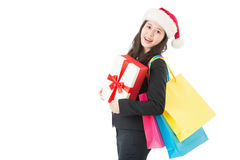 Christmas happy girl With Shopping Bags and gift box Stock Image