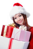 Christmas happy girl smile holding christmas gift Royalty Free Stock Image