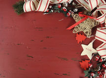 Christmas and Happy Holiday vintage background on dark red vintage recycled wood Royalty Free Stock Photo