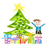 Christmas happy kid. Christmas drawing with happy kid, Christmas tree and present boxes Royalty Free Stock Photography