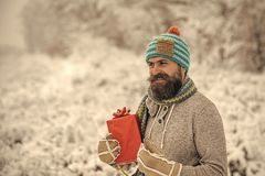 Christmas happy man hold present box in snowy winter forest royalty free stock photography