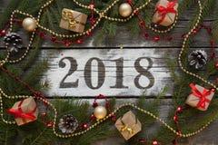 christmas happy merry new year Εγγραφή του 2018 Στοκ Φωτογραφίες