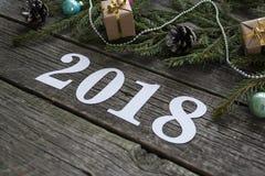 christmas happy merry new year Εγγραφή του 2018 Στοκ φωτογραφία με δικαίωμα ελεύθερης χρήσης
