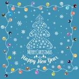 christmas happy merry new year πρόσθετες διακοπές μορφής καρτών Στοκ Εικόνες