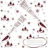 christmas happy merry new year πρόσθετες διακοπές μορφής καρτών Στοκ Εικόνα