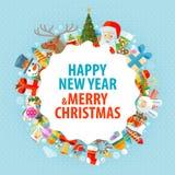 christmas happy merry new year χαιρετισμός καλή χρονιά καρτών του 2007 Στοκ Φωτογραφίες