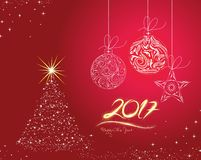 Christmas and happy new year 2017 Background with Christmas Balls.  Stock Images