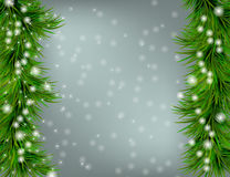Christmas and happy new year background. Christmas and happy new year grey background with sparkles and Christmas tree Royalty Free Stock Photos