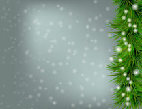 Christmas and happy new year background. Christmas and happy new year grey background with sparkles and Christmas tree Stock Photo
