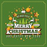 Christmas and Happy New Year Background. Christmas and Happy New Year illustration with typography and golden stars background. Holiday design concept for Stock Photo