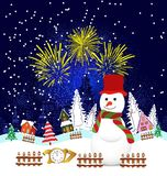Christmas and happy new year 2017 Background with snowman Stock Image