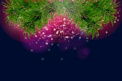 Christmas and happy new year background with sparkles and Christmas tree. Vector illustration Royalty Free Stock Photography