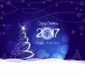 Christmas and happy new year 2017 Background with tree light.  Royalty Free Stock Image