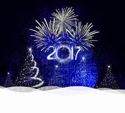 Christmas and happy new year 2017 Background with tree light.  Royalty Free Stock Photos