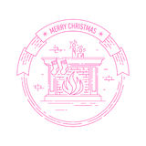 Christmas and Happy New Year badge with fireplace. Merry Christmas and Happy New Year creative badge or labels with fireplace, socks and candles for greetings Royalty Free Stock Photo