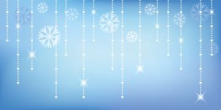 Christmas and happy new year blue glitter background with snowflake vector illustration