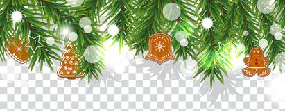 Christmas and happy New Year border of Christmas tree branches with cookies on transparent background. Holidays decoration. Vector vector illustration