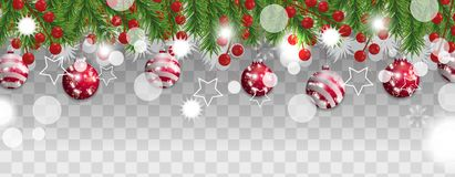 Christmas and happy New Year border of Christmas tree branches with red balls and holly berries on transparent background. vector illustration