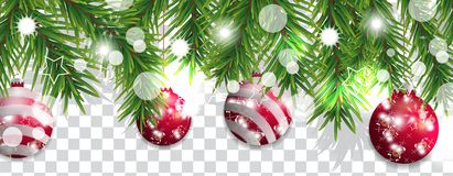 Christmas and happy New Year border of Christmas tree branches with red balls on transparent background. Holidays decoration. Vect stock illustration