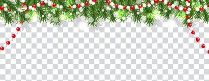 Christmas and happy New Year border of Christmas tree branches and beads on transparent background. Holidays decoration. Vector