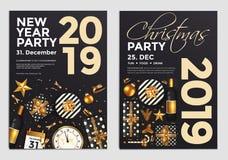 Christmas Party Flyer Design- golden design 2019 5 royalty free illustration