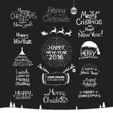 Christmas Happy New Year Calligraphic Hand drawing Stock Photos