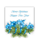 Christmas and Happy New Year Card with Blue Balls Royalty Free Stock Photography