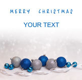 Christmas and happy new year card with  blue and silver balls Royalty Free Stock Photo
