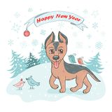 Christmas and Happy New year card with cute dog breed german shepherd puppy and bird Stock Images