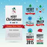 Christmas and Happy new year  card design Royalty Free Stock Photography