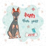 Christmas and Happy New year card with doberman dog wearing deer horn rim and cute bird. Funny illustration for your design in cartoon style. Dog is symbol of royalty free illustration